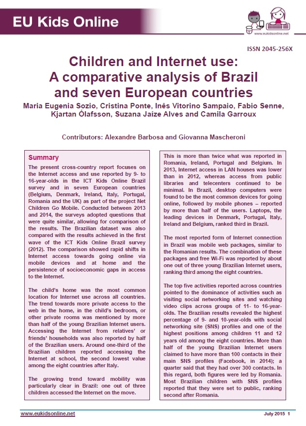 Children and Internet use: A comparative analysis of Brazil and seven European countries